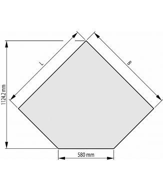 Ahju alusklaas – kuju B 1000x1000x580mmx45°
