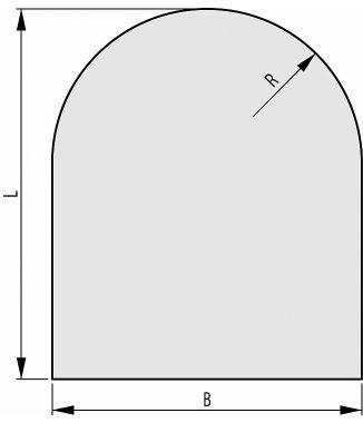 Ahju alusklaas – kuju C 1000x1000mm R=500mm